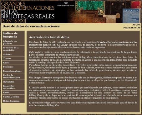 """Base de datos de encuadernaciones de la exposición """"Grandes encuadernaciones en las Bibliotecas Reales (S. XV-XXI)"""""""