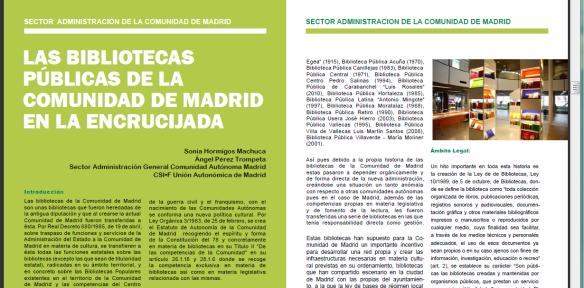 Comunidad de Madrid Bibliotecas en la encrucijada