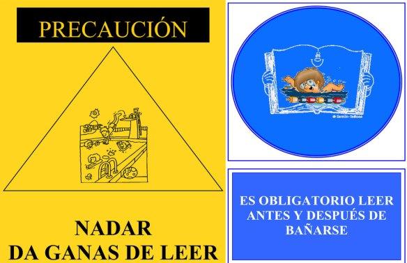 Dos divertidos carteles de la bibliopiscina de Lena (Asturias).