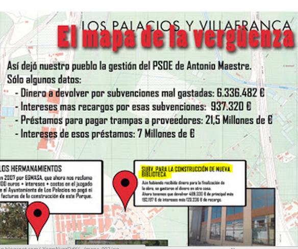 """En el """"mapa de la vergüenza"""" de la web ipiulospalacios.com se lee: """"Subvención para la construcción de una nueva biblioteca. Aún habiendo recibido dinero para la finalización de la obra, se gastaron el dinero en otra cosa"""""""
