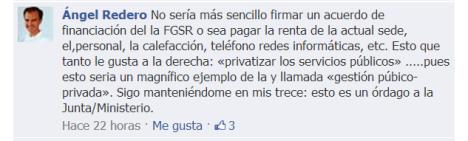 Comentario en Facebook de  No al Cierre de la Fundación Germán Sánchez Ruipérez
