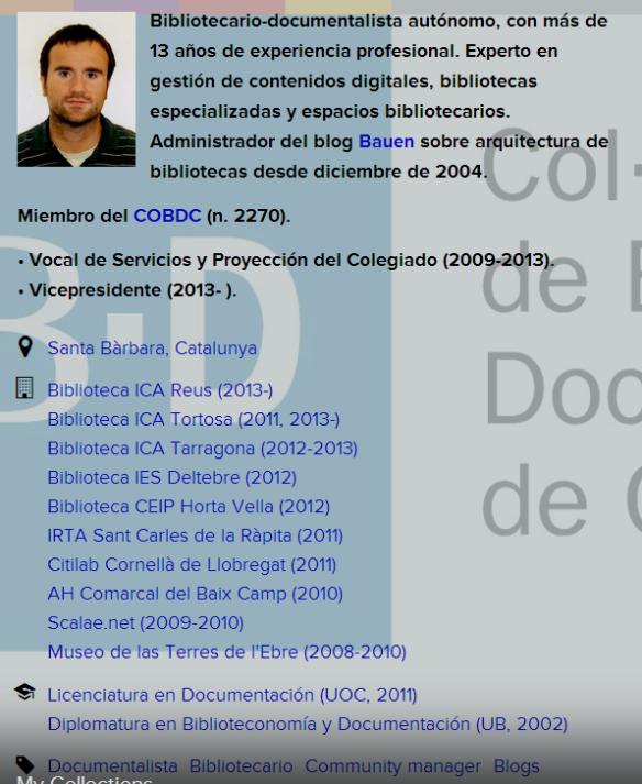 Ficha de Daniel Gil en el COBDC. Hay que añadir que nació en 1979 y que su blog  Bauen sobre bibliotecas y arquitectura es altamente recomendable.