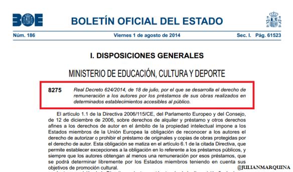 Pantallazo Real Decreto 624/2014. Fuente: Julián Marquina.