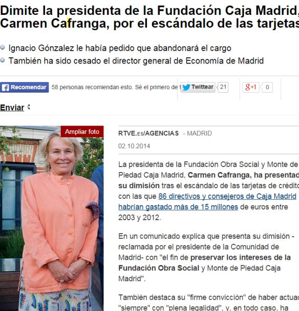 Noticia de la dimisión de Carmen Cafranga la semana pasada. Fuente :RTVE