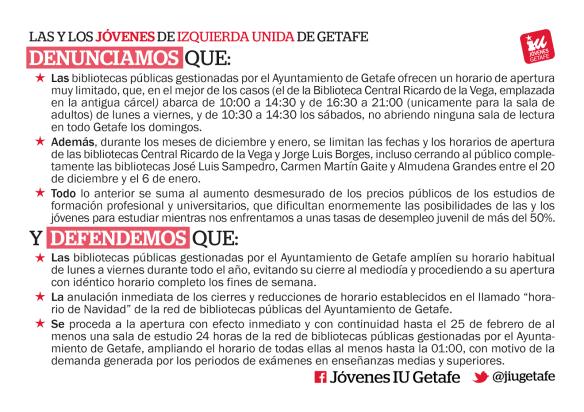 Estas son las peticiones de Jóvenes de IU Getafe