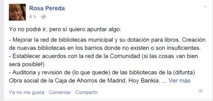 Unas de las propuestas sobre bibliotecas que ha realizado una usuaria en el muro de FaceBook