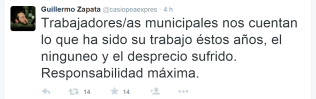 Reciente tweet de Guilermo Zapata