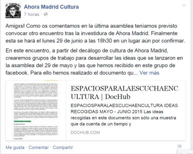 Nueva reunión Ahora Madrid Cultura
